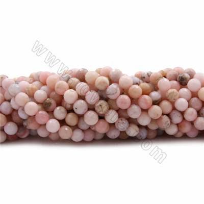 "Natural Pink Opal Beads Strands, Round(faceted), Diameter 8mm, Hole 0.7mm, 15~16""/strand"