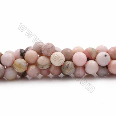 "Natural Pink Opal Beads Strands, Round(faceted), Diameter 16mm, Hole 1mm, 15~16""/strand"