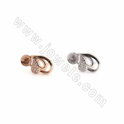 925 Sterling Silver Stud Earring findings, Size 13x7mm, Pin 0.7mm, Tray 4.7mm, Pin for half drilled beads  0.8mm, 12pcs/pack