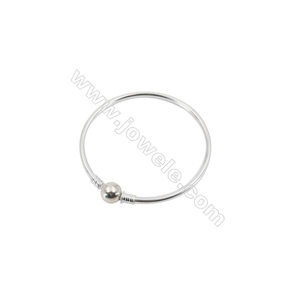 925 Sterling Silver European Bangle x 1piece  180mm  Thickness 3mm