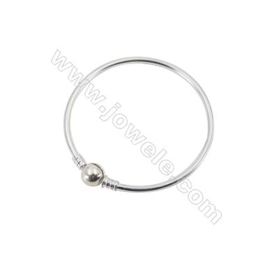 925 Sterling Silver European Bangle x 1piece  190mm Thickness 3mm