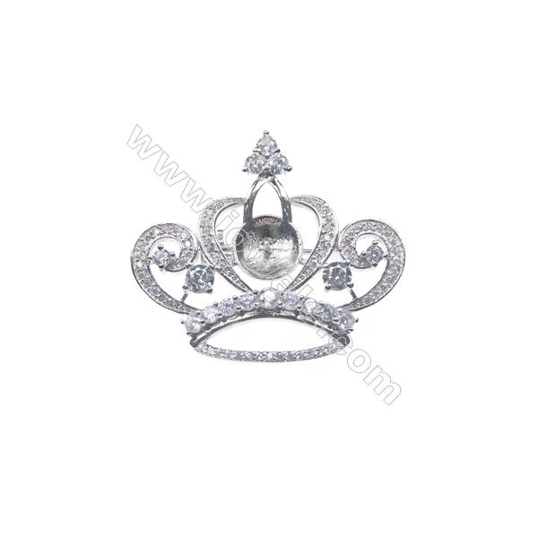 925 Sterling silver platinum plated CZ crown brooch, 33x37mm, x 5pcs, tray 10mm, needle 0.7mm