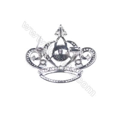 925 Sterling silver platinum plated CZ crown brooch-XZ0002 33x37mm x 5pcs disc diameter 10mm  needle diameter 0.7mm