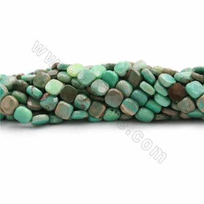 "Natural Green Moss Agate Beads Strands, Square(faceted), Size 9x9~30x30mm, Hole 0.7~1mm, 15~16""/strand"