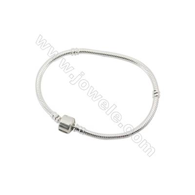 Sterling Silver Flexible Bangle  x 1piece  190mm  Thickness 3mm