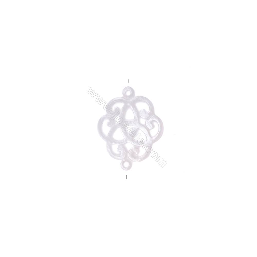 White mother-of-pearl openwork Celtic knot designed, Size 22x17.5mm, 10pcs/pack