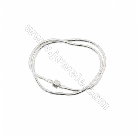Sterling Silver Flexible Bangle With Zircon Micropave x 1piece  460mm  Thickness 3mm