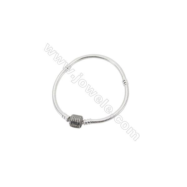 Sterling Silver Flexible Bangle With Zircon Micropave x 1piece  170mm Thickness 3mm