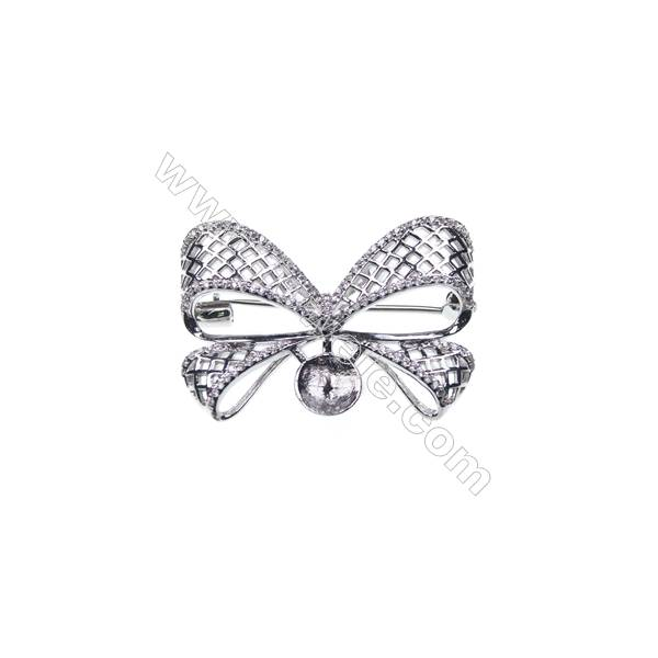 925 Sterling silver platinum plated zircon brooches, butterfly, 36x23mm, x 5pcs, tray 8mm, pin 0.6mm
