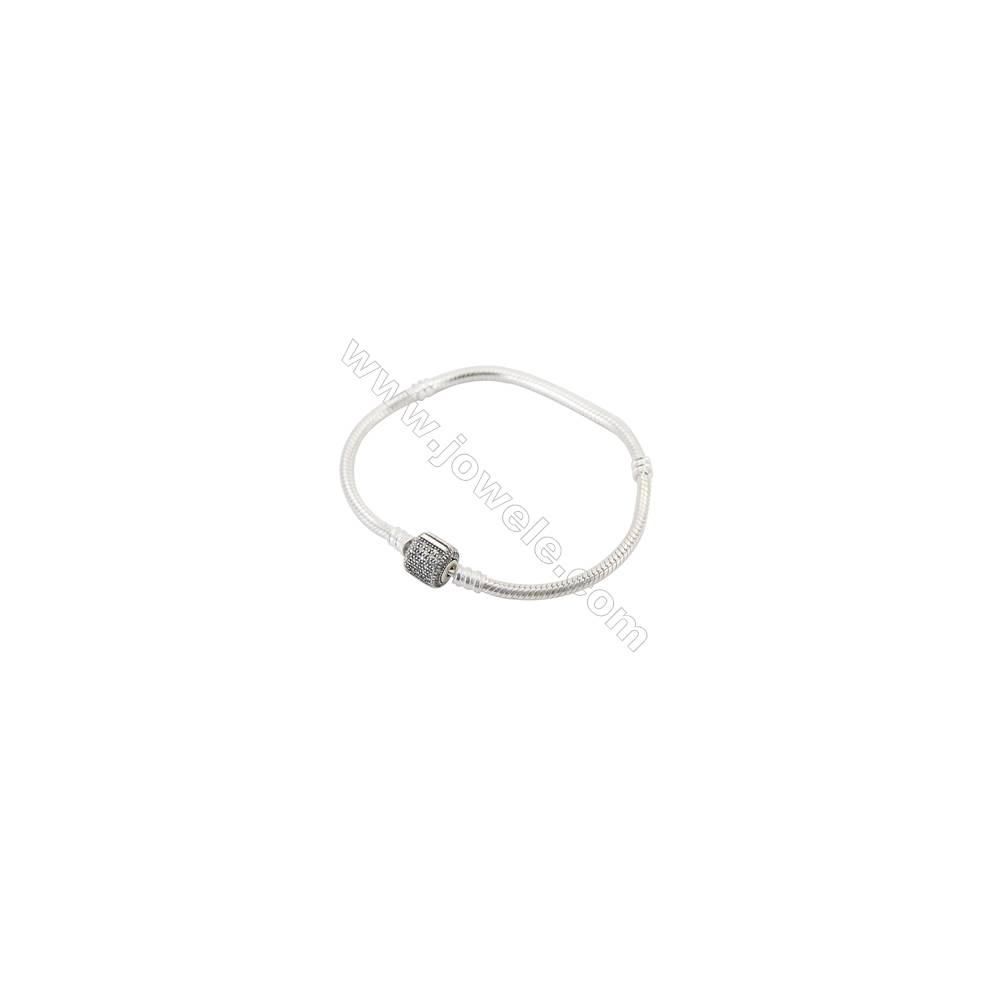 Sterling Silver Flexible Bangle With Zircon Micropave x 1piece  190mm  Thickness 3mm