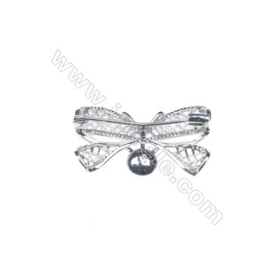 925 Sterling silver platinum plated zircon brooches  butterfly  36x23mm x 5pcs  tray 8mm  pin 0.6mm