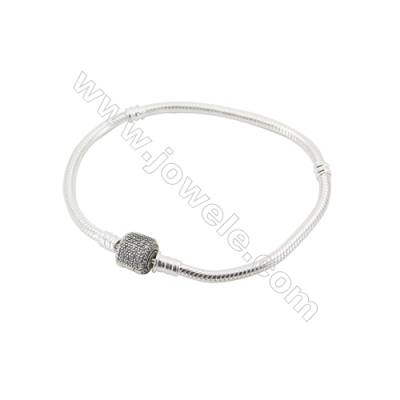 Sterling Silver Flexible Bangle With Zircon Micropave x 1piece  200mm  Thickness 3mm