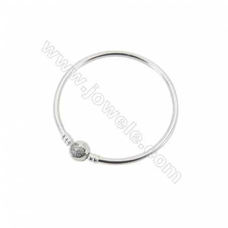 Sterling Silver European Bangle With Zircon Micropave x 1piece  180mm  Thickness 3mm