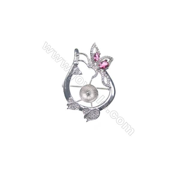 925 sterling silver platinum plated CZ brooch, 39x27mm, x 5pcs, tray 10mm, needle 0.8mm