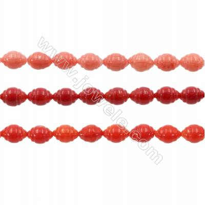 Various Colors Coral Lantern Beads Strands, Dyed, Size 7x9mm, Hole 0.8mm, about 40 pcs/strand 15~16""