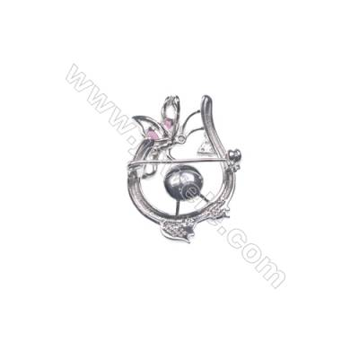 925 sterling silver platinum plated CZ brooch -XZ0013 39x27mm x 5pcs disc diameter 10mm small needle diameter 0.8mm