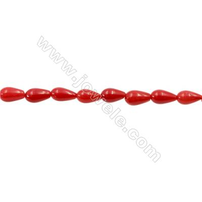 Red Coral Teardrop Beads Strands  Dyed  Size 5x8mm  Hole: 0.8mm  about 44 pcs/strand 15~16""
