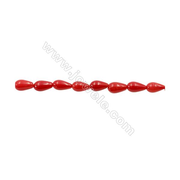 """Red Coral Teardrop Beads Strands  Dyed  Size 5x8mm  Hole: 0.8mm  about 44 pcs/strand 15~16"""""""