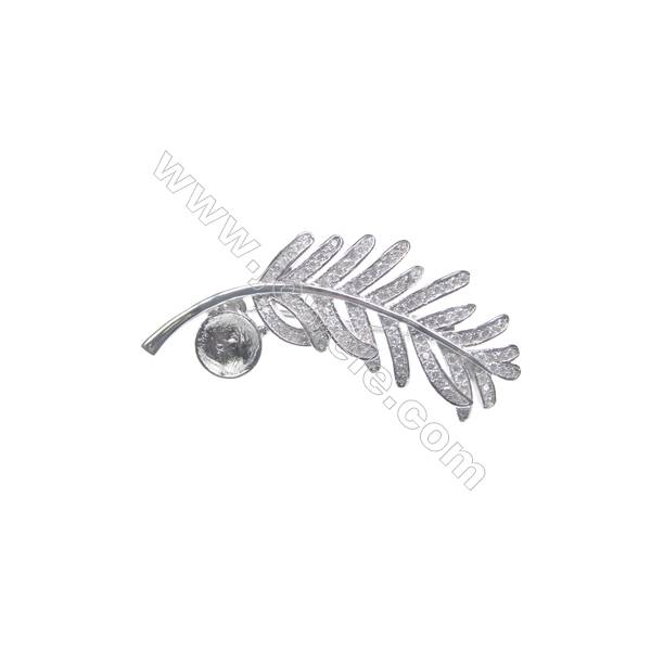 925 Sterling silver platinum plated zircon brooch, 44x21mm, x 5pcs, tray 8mm, needle 0.7mm