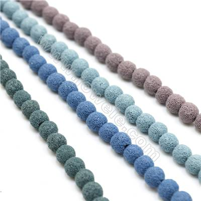 Natural Stone Frosted Lava Beads Strand, Round, Diameter 10mm, Hole 1mm, about 41 beads/strand 15~16""