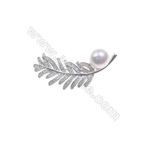 925 Sterling silver platinum plated zircon brooch -XZ0007 44x21mm x 5pcs disc diameter 8mm small needle diameter 0.7mm