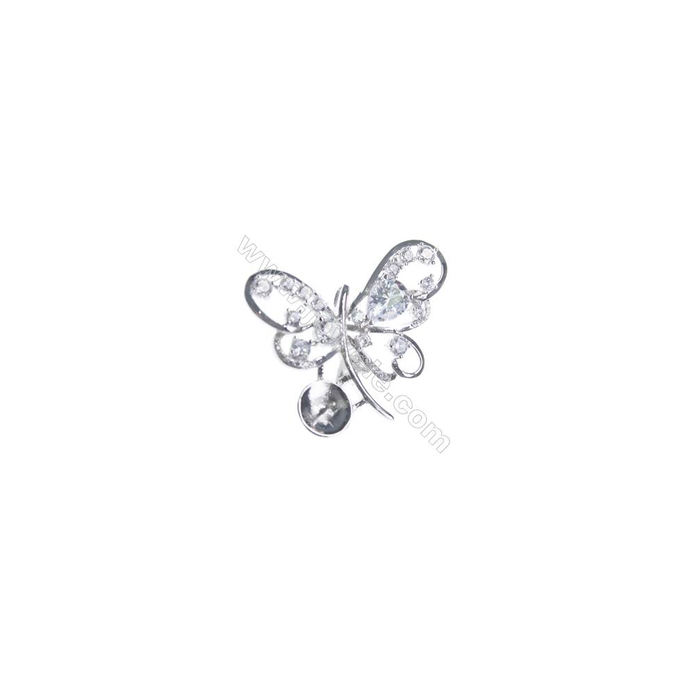 925 sterling silver zircon platinum plated CZ Brooch, 37x33mm, x 5pcs, tray 10mm, needle 0.7mm