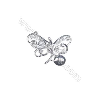 925 sterling silver zircon platinum plated CZ Brooch -XZ0006 37x33mm x 5pcs disc diameter 10mm small needle diameter 0.7mm