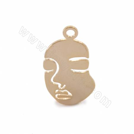 Brass Pendants, The Face of Lady, Real Gold Plated, Size 34x17mm, Hole 2.8mm, 30pcs/pack