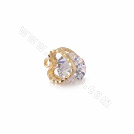 Brass Cubic Zirconia Charms, Heart, Real Gold Plated, Size 7x6mm, Hole 1.4mm, 50pcs/pack