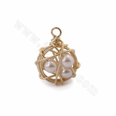 Brass Pendants, with Plastic Beads, Real Gold Plated, Diameter 14mm, Hole 2mm, 30pcs/pack