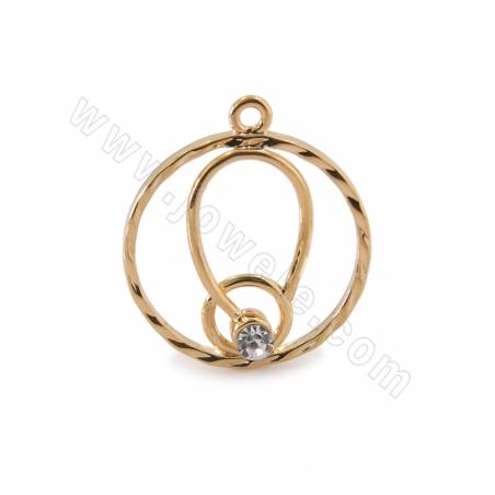 Brass Cubic Zirconia Pendants, Circle, Real Gold Plated, Size 18mm, Hole 1.5mm, 50pcs/pack