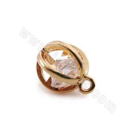 Brass Cubic Zirconia Pendants, Lantern, Real Gold Plated, Size 12x9.5mm, Hole 1.6mm, 50pcs/pack