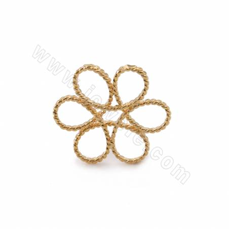 Brass Charms, Wreath, Real Gold Plated, Diameter 23mm, 30pcs/pack