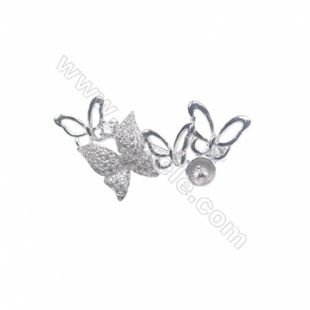925 Sterling silver platinum plated zircon brooch, 37x20mm, tray 6mm, pin 0.7mm, x5pcs