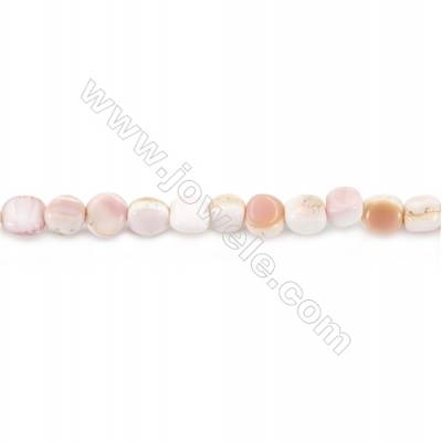 Natural Pink Mother Of Pearl Beads Strand, Irregular, Size 6x7mm, Hole 1mm, about 62 beads/strand, 15~16""