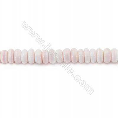 Natural Pink Mother Of Pearl Beads Strand, Abacus, Size 3x6mm, Hole 0.8mm, about 120 beads/strand, 15~16""