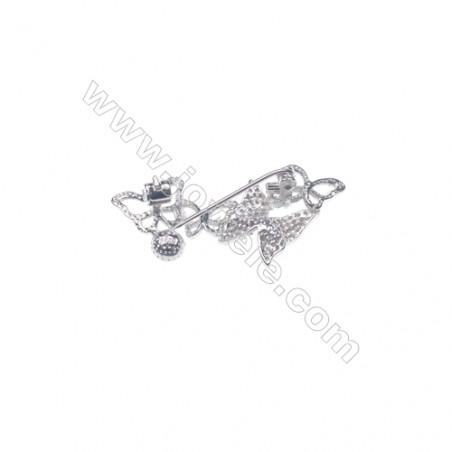 925 Sterling silver platinum plated  zircon brooch-XZ0009 37x20mm x 5 disc Diameter 6mm pin diameter 0.7pcs