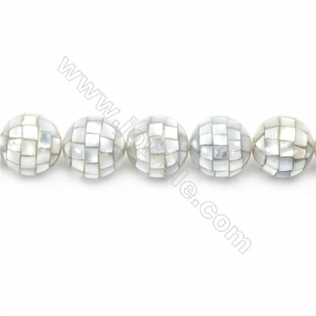 Mosaic Shell Beads Strand, Round, Diameter 18mm, Hole 1.5mm, about 22 beads/strand, 15~16""