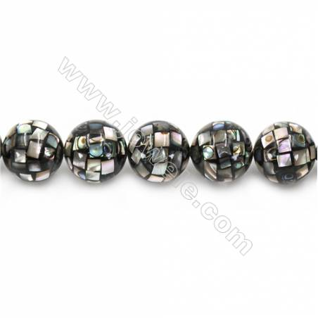 Mosaic Shell Beads Strand  Round   Diameter 18mm  Hole 1.5mm  about 22 beads/strand 15~16""