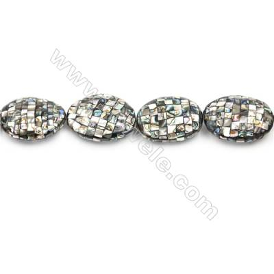 Natural Abalone Shell Beads Strand  Mosaic Oval   Size 27x38mm  Hole 1.5mm  about 11 beads/strand 15~16""