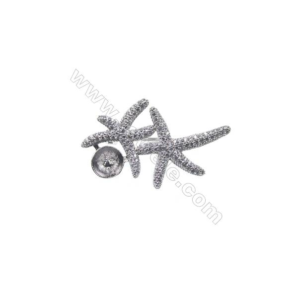 Sterling silver platinum plated zircon brooch, 23x37mm, x 5pcs, tray 8mm, pin 0.7mm
