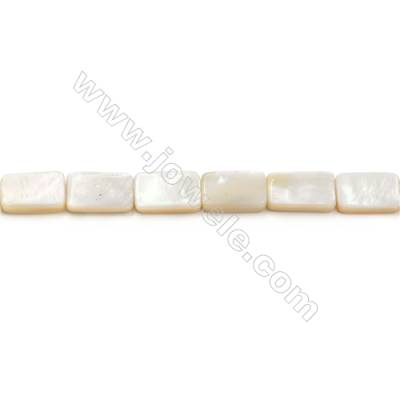 Natural White Mother Of Pearl Beads Strand  Rectangle   Size 11x17mm  Hole 1mm  about 25 beads/strand 15~16""