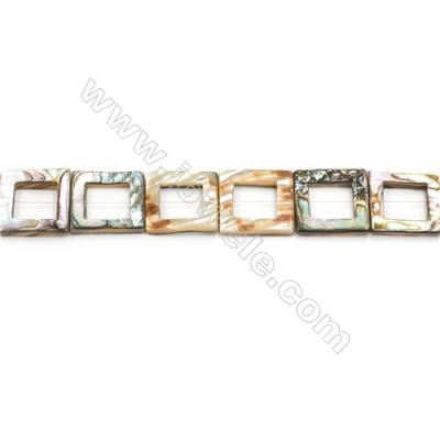 Abalone Shell Beads Strand, Square, Size 18x18mm, Hole 0.8mm, about 22 beads/strand, 15~16""