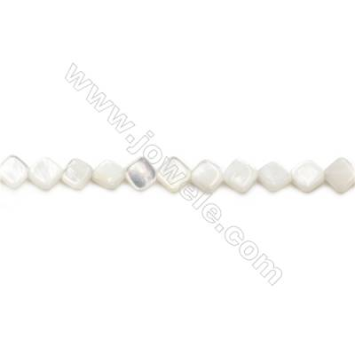 Natural White Mother Of Pearl Beads Strand, Rhombus, Size 7x7mm, Hole 0.7mm, about 56 beads/strand 15~16""