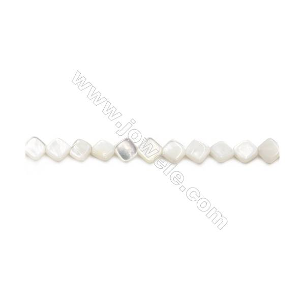 """Natural White Mother Of Pearl Beads Strand, Rhombus, Size 7x7mm, Hole 0.7mm, about 56 beads/strand 15~16"""""""