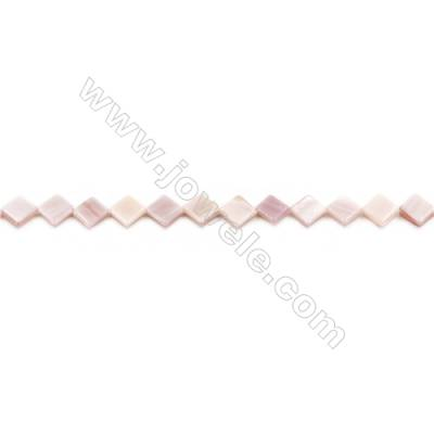 Natural Pink Mother Of Pearl Beads Strand, Rhombus, Size 8x8mm, Hole 0.7mm, about 48 beads/strand, 15~16""