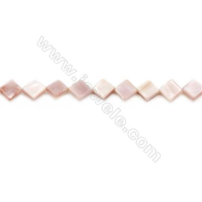 Natural Pink Mother Of Pearl Beads Strand, Rhombus, Size 10x10mm, Hole 0.8mm, about 37 beads/strand, 15~16""