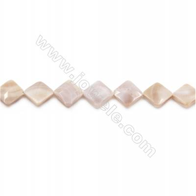 Natural Pink Mother Of Pearl Beads Strand, Rhombus, Size 16x16mm, Hole 1mm, about 22 beads/strand 15~16""