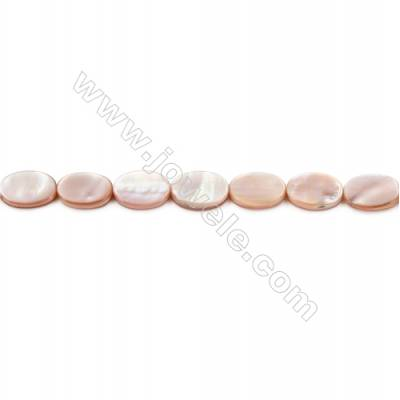 Natural Pink Mother Of Pearl Beads Strand, Oval, Size 10x14mm, Hole 1mm, about 25 beads/strand 15~16""