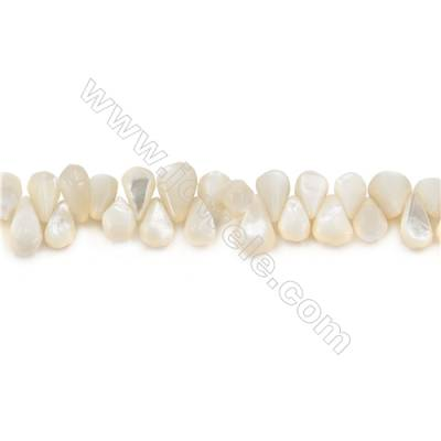 Natural White Mother Of Pearl Beads Strand, Teardrop(faceted), Size 7x10mm, Hole 1mm, about 98 beads/strand 15~16""